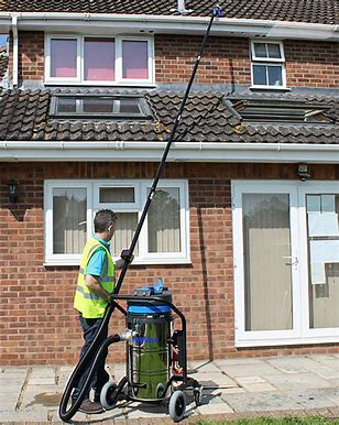 Ttotall Guttered use a high quality Sky Vac for gutter cleaning and cleaning.